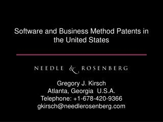 Software and Business Method Patents in the United States