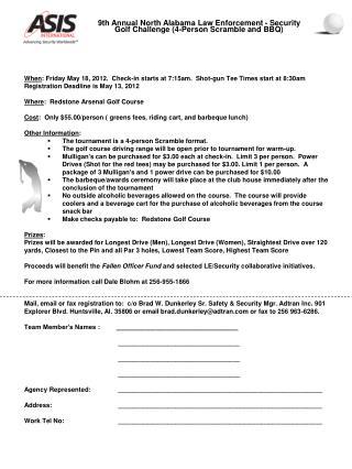 When : Friday May 18, 2012.  Check-in starts at 7:15am.  Shot-gun Tee Times start at 8:30am