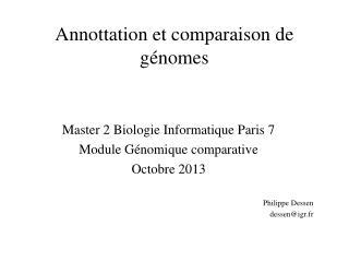 Annottation et comparaison de génomes