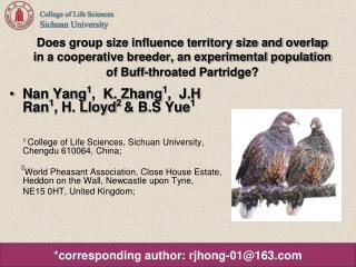 Nan Yang 1 ,  K. Zhang 1 ,  J.H Ran 1 , H. Lloyd 2  & B.S Yue 1