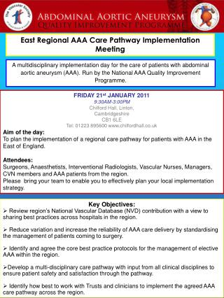 East Regional AAA Care Pathway Implementation Meeting