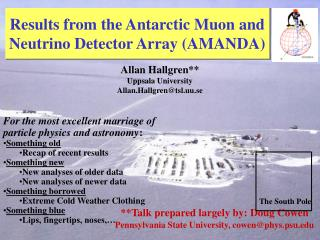 Results from the Antarctic Muon and Neutrino Detector Array (AMANDA)