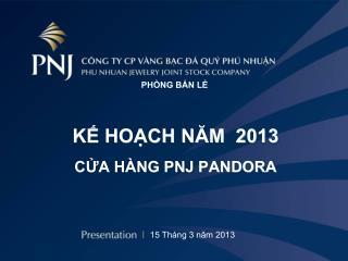 KẾ HOẠCH NĂM  2013 CỬA HÀNG PNJ PANDORA