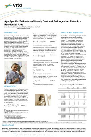 Age Specific Estimates of Hourly Dust and Soil Ingestion Rates in a Residential Area Johan Bierkens, Christa Cornelis, M