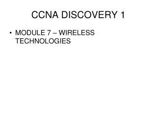 CCNA DISCOVERY 1