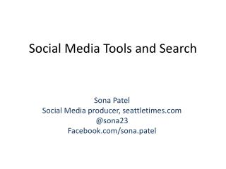 Social Media Tools and Search