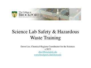 Science Lab Safety  Hazardous Waste Training