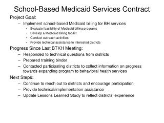 School-Based Medicaid Services Contract
