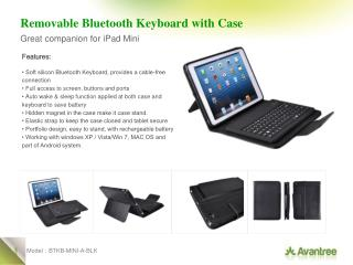 Removable Bluetooth Keyboard with Case