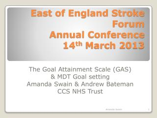 East of England Stroke Forum Annual Conference 14 th  March 2013