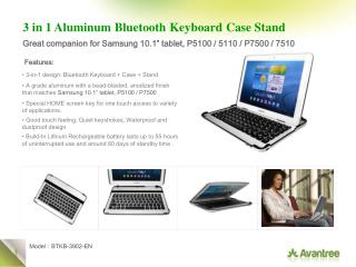 3 in 1 Aluminum Bluetooth Keyboard Case Stand