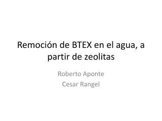 Remoción de BTEX en el agua, a partir de zeolitas