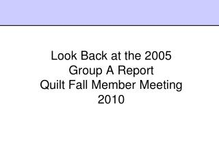 Look Back at the 2005  Group A Report  Quilt Fall Member Meeting 2010