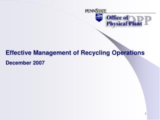 Effective Management of Recycling Operations December 2007