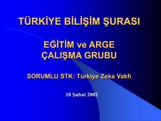 TÜRKİYE BİLİŞİM ŞURASI EĞİTİM ve ARGE  ÇALIŞMA GRUBU SORUMLU STK: Türkiye Zeka Vakfı