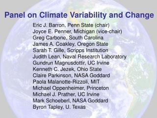 Panel on Climate Variability and Change