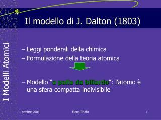 Il modello di J. Dalton (1803)