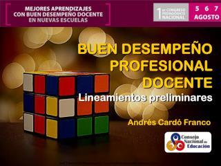 BUEN DESEMPEÑO PROFESIONAL DOCENTE Lineamientos preliminares