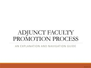ADJUNCT FACULTY PROMOTION PROCESS