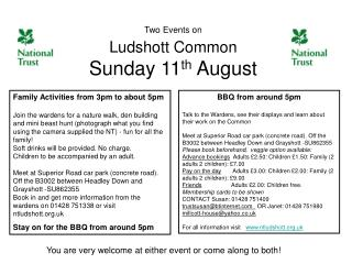 Two Events on Ludshott Common Sunday 11 th  August