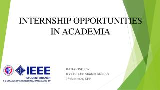 INTERNSHIP OPPORTUNITIES IN ACADEMIA