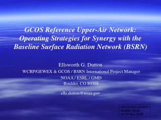 GCOS Ref U/A W/S Seattle, Wash 22-24 May 2006