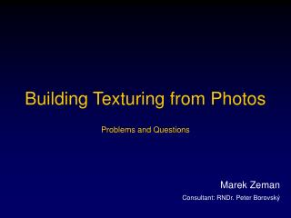 Building Texturing from Photos