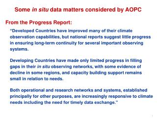 Some  in situ  data matters considered by AOPC