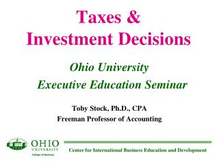 Taxes & Investment Decisions