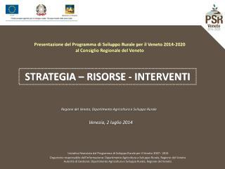 Presentazione del Programma di Sviluppo Rurale per il Veneto 2014-2020
