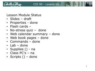 CIS 90 - Lesson 10