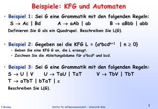 Beispiele: KFG und Automaten
