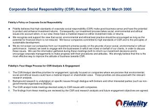 Corporate Social Responsibility (CSR) Annual Report, to 31 March 2005