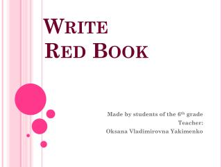 Write  Red Book