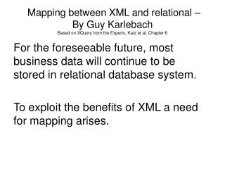 XML vs. Relational