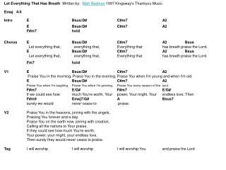 Let Everything That Has Breath   Written by:   Matt Redman  1997 Kingsway's Thankyou Music
