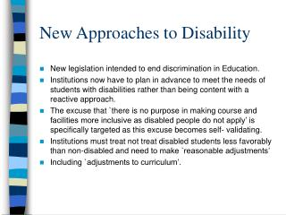 New Approaches to Disability