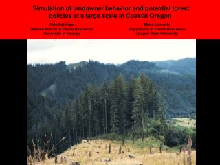 Simulation of landowner behavior and potential forest policies at a large scale in Coastal Oregon