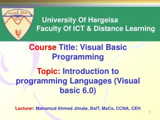 Course  Title: Visual Basic Programming