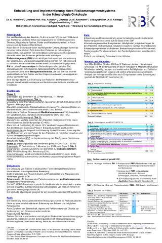 Entwicklung und Implementierung eines Risikomanagementsystems  in der Hämatologie/Onkologie