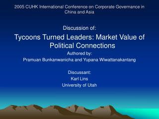 2005 CUHK International Conference on Corporate Governance in China and Asia