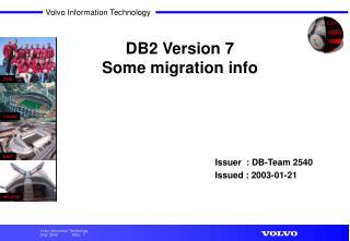 DB2 Version 7 Some migration info