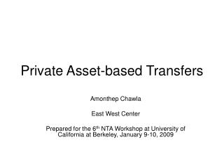Private Asset-based Transfers