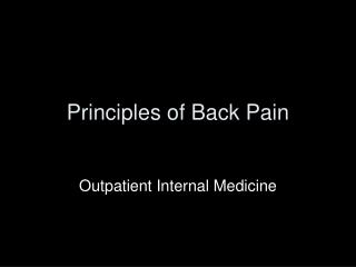 Principles of Back Pain