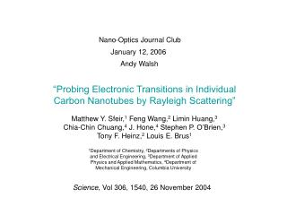 """Probing Electronic Transitions in Individual Carbon Nanotubes by Rayleigh Scattering"""