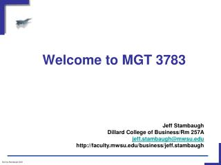 Welcome to MGT 3783