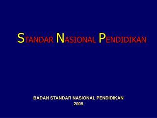 BADAN STANDAR NASIONAL PENDIDIKAN 2005