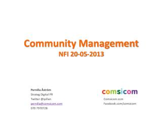 Community  Management NFI 20-05-2013