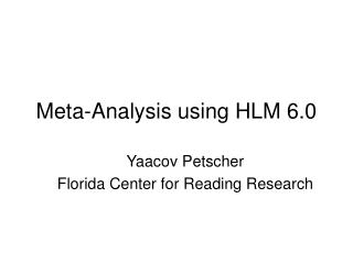 Meta-Analysis using HLM 6.0