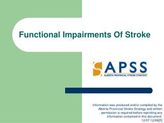 Functional Impairments Of Stroke